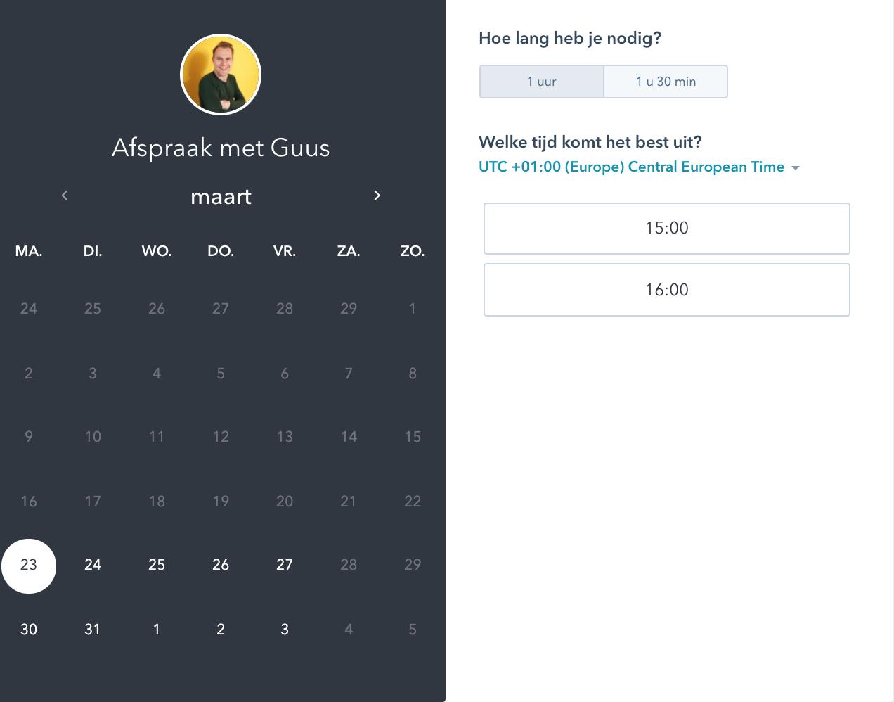 HubSpot Meeting tool: een onmisbare agendakoppeling