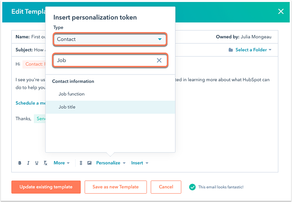 Personaliseren templates | Templates en Snippets | Inbnd